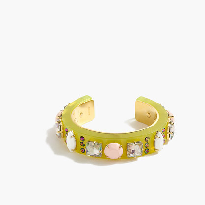 Neon and crystal cuff bracelet