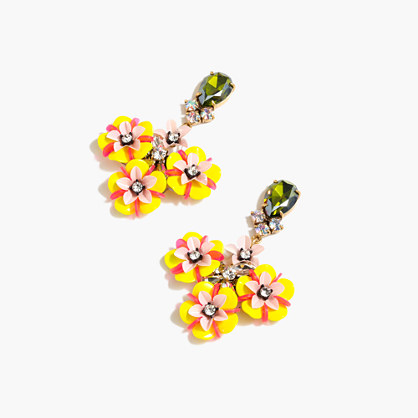 Fun floral and crystal earrings