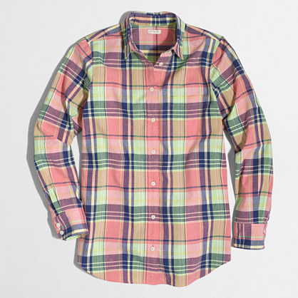 Factory summer plaid washed shirt