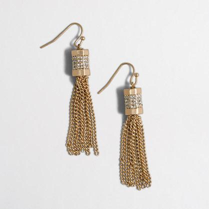 Factory pavé tassel earrings
