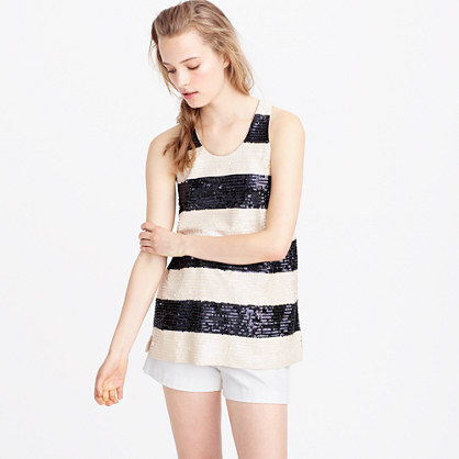 Collection rugby-stripe sequin tank top