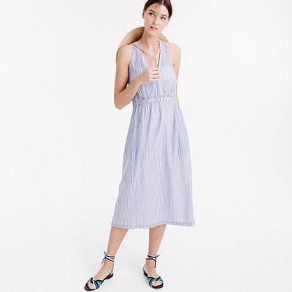 Cross-back dress in stripe