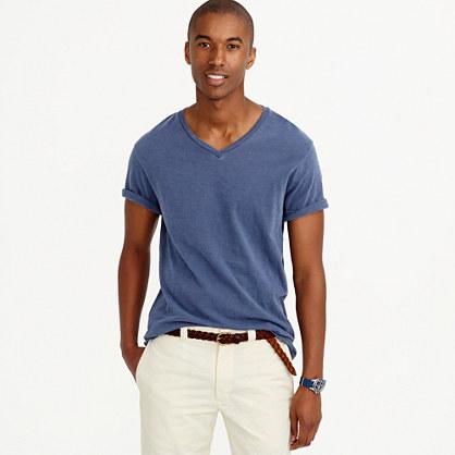 Tall garment-dyed V-neck T-shirt