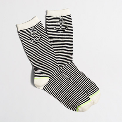 Factory hidden anchor striped trouser socks