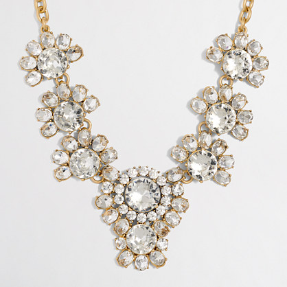 Factory crystal floral statement necklace