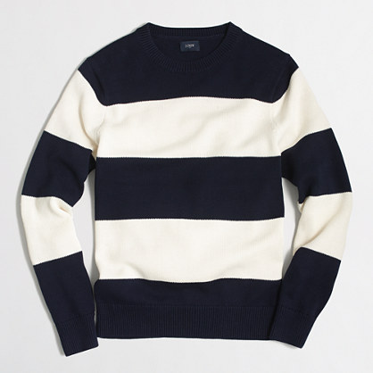 Wide-striped cotton crewneck sweater