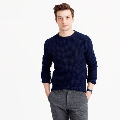 Cotton textured-stitch crewneck sweater