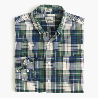 Slim Secret Wash shirt in blue tartan