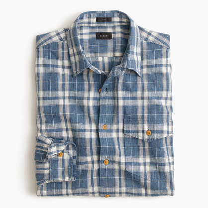 Slim heathered slub cotton shirt in creek blue plaid