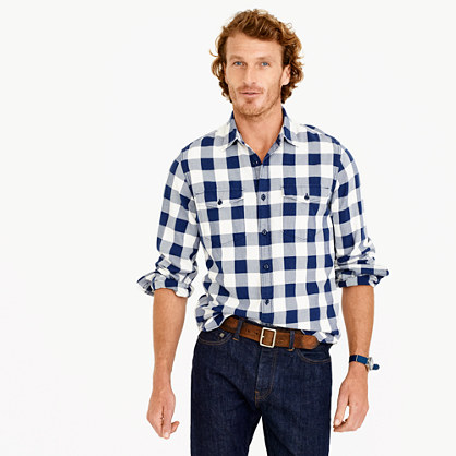 Midweight flannel shirt in navy buffalo check