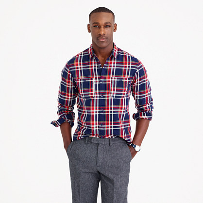 Midweight flannel shirt in navy plaid