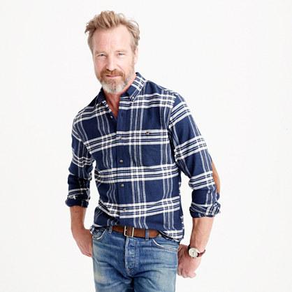 Cotton-wool elbow-patch shirt in dark navy plaid