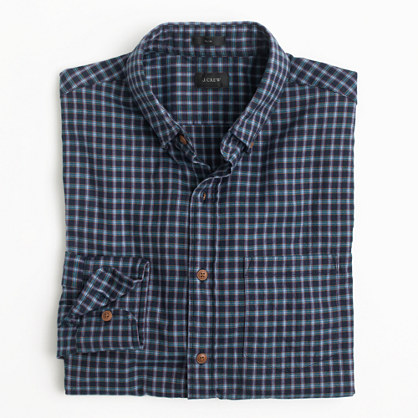 Slim brushed twill shirt in blue plaid