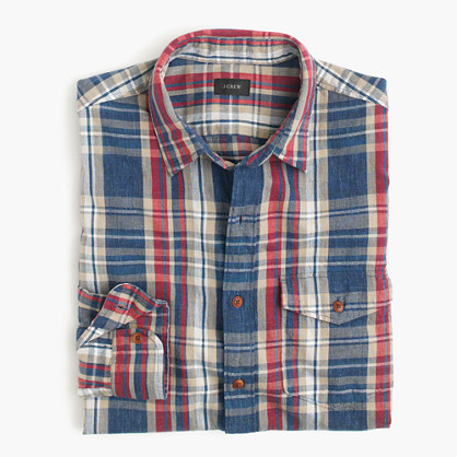Slim heathered slub cotton shirt in blue plaid