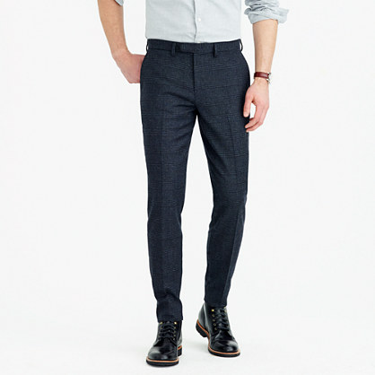 Bowery slim pant in glen plaid wool