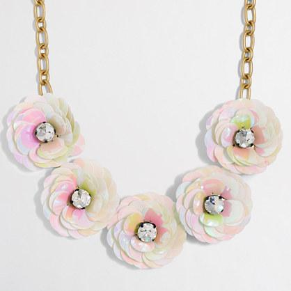 Factory sequin flower burst necklace