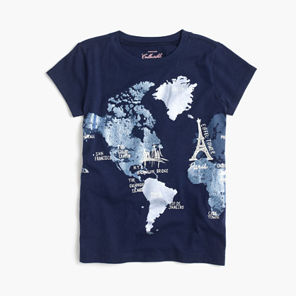 Girls' glitter world map T-shirt