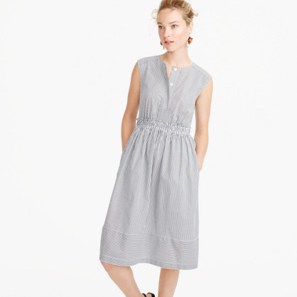 Petite cap-sleeve dress in shirting stripe
