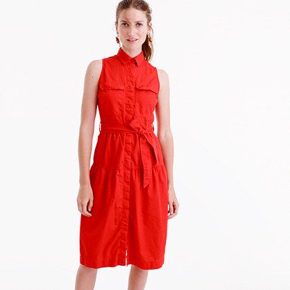 Tiered fatigue shirtdress