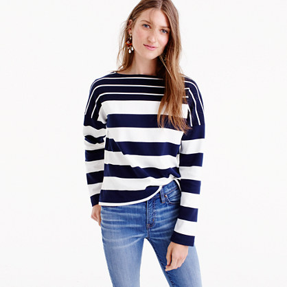 Stripe-blocked boatneck T-shirt