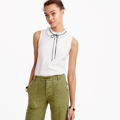 Ruffle-neck top in ponte