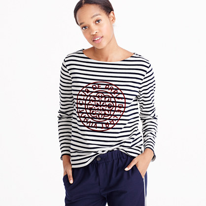 Striped boatneck T-shirt with French logo