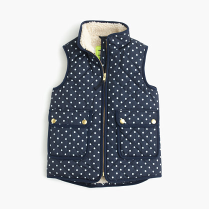 Girls' polka-dot sherpa-lined puffer vest