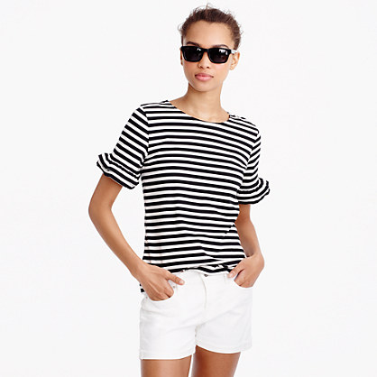 Ruffle-sleeve T-shirt in stripe