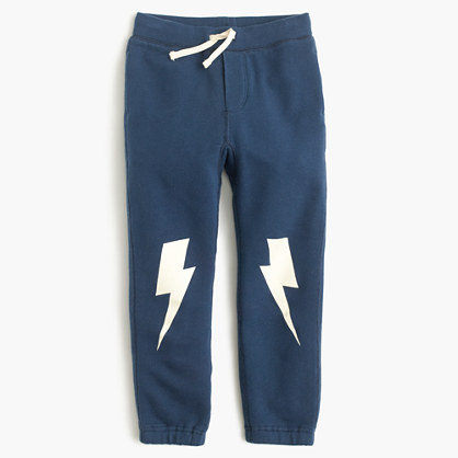 Boys' classic sweatpant with glow-in-the-dark lightning bolts