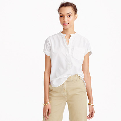 Relaxed popover shirt in end-on-end cotton
