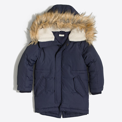 Boys' fishtail puffer jacket with faux-fur trim