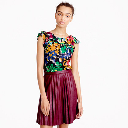 Petite ruffle top in colorful brushstroke print
