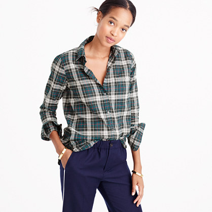 Boy shirt in crinkle plaid