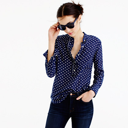 Ruffled popover shirt in polka dot