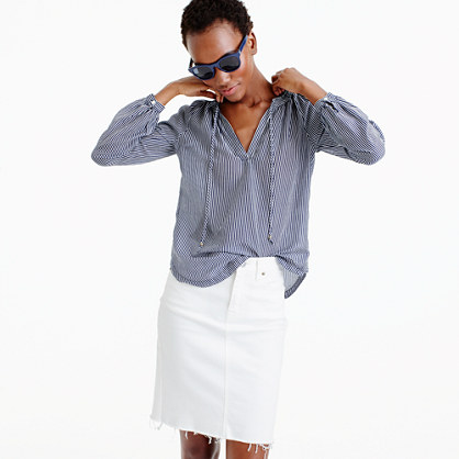 Tie-neck top in shirting stripe