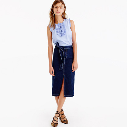 Denim tie-waist skirt