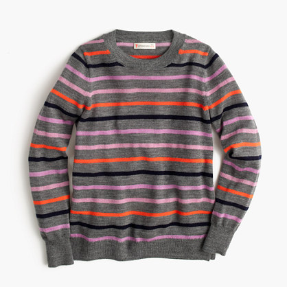 Girls' striped wool popover sweater
