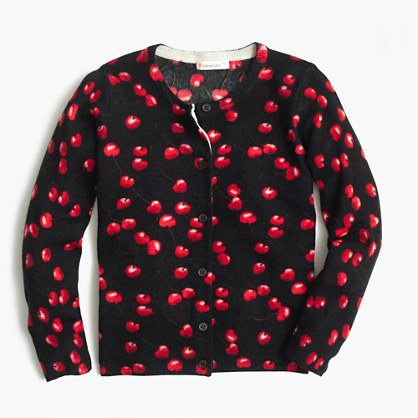 Girls' Caroline cardigan sweater in cherry print