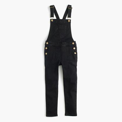 Girls' stretch denim overalls in black