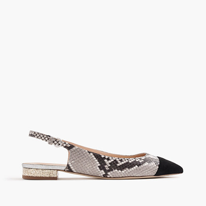 Slingback flats in snakeskin-printed leather