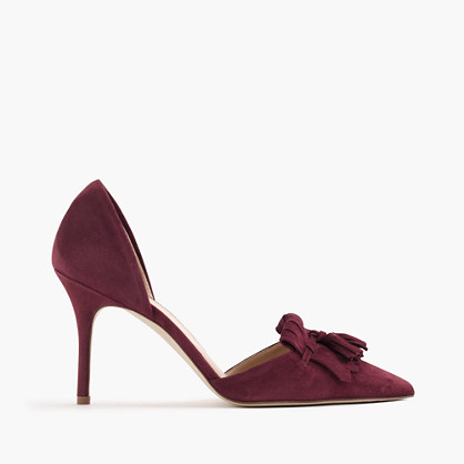Elsie suede d'Orsay pumps with fringe