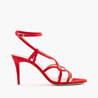 Suede cross-strap sandals