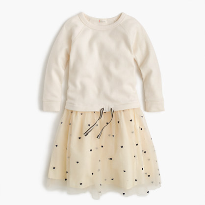 Girls' sweatshirt dress with hearts