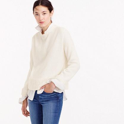 Italian cashmere drop-shoulder crewneck sweater