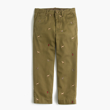 Boys' garment-dyed critter chino in dogs