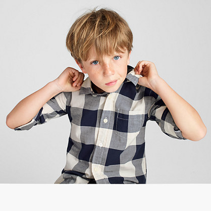 Kids' lightweight flannel shirt in buffalo plaid