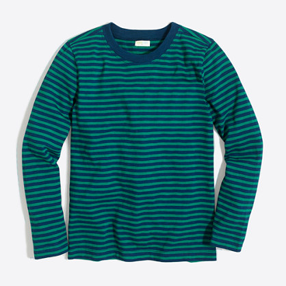 Boys' long-sleeve striped slub cotton T-shirt