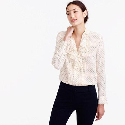 Tuxedo ruffle top in polka-dot silk georgette