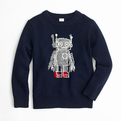 Boys' softspun robot crewneck sweater