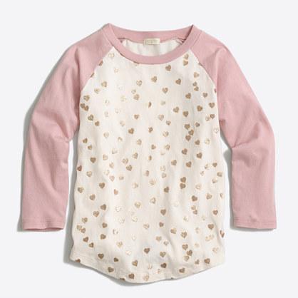 Girls' glitter hearts baseball T-shirt